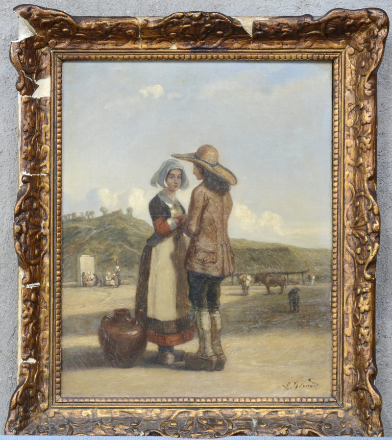"""""""Conversatie op de boerderij"""". Olieverf op doek. Gesigneerd. XIXe eeuw."""