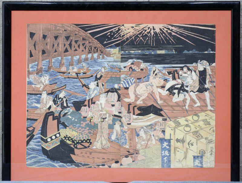 Een gekleurde Japanse houtsnede.Info op achterzijde: Kuniyasu - Gwa; Kiwame zgel (1790 - 1804); Acteur: Ichikawa Komazo; uitgever Izumi - Ya Ichibei, Kansendo.