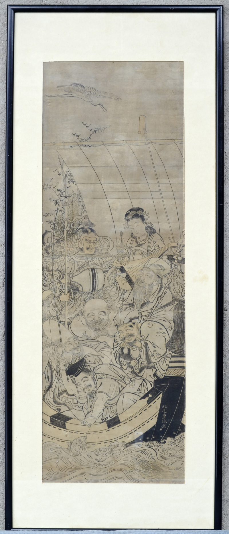 Een Chinese houtsnede voorstellende zeven goden.