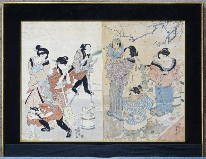 Een Japanse houtsnede door Kunisada ( ca. 1820) . Handtekening: ' Gototei Kumisada ga'.
