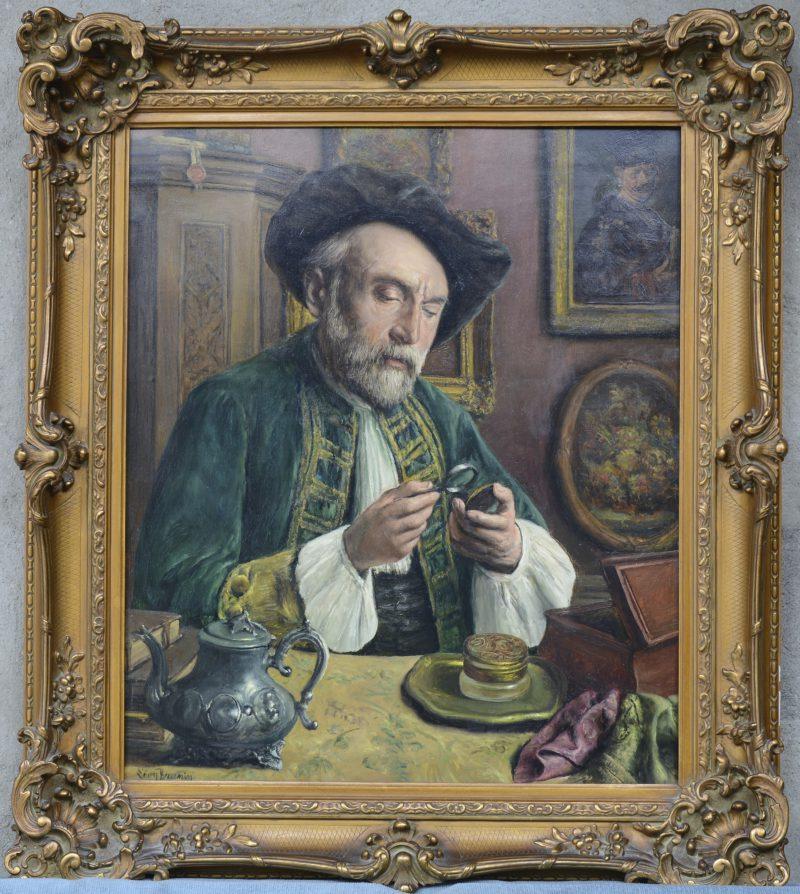 """""""De kunstkenner"""". Olieverf op doek. Gesigneerd. Achteraan een authenticatie door de schilder."""