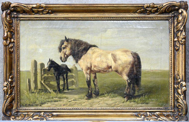 """""""Merrie met haar veulen in de wei"""". Olieverf op doek. Gesigneerd en gedateerd 1884. Kleine, oude herstellingen."""