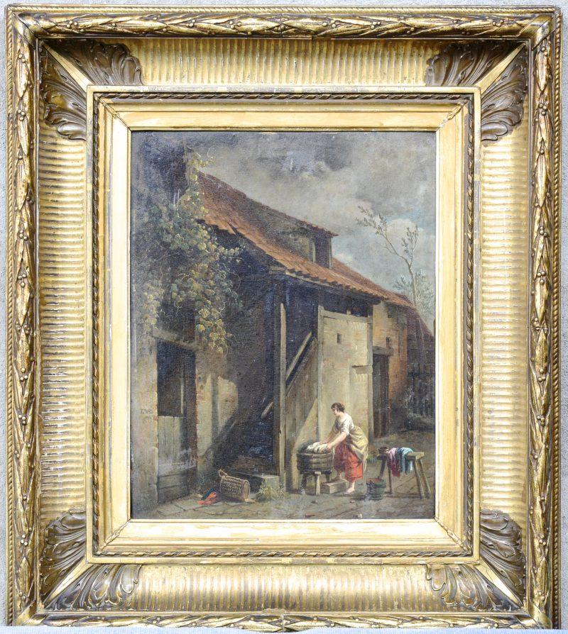 """""""Wasvrouw voor een hoeve"""". Olieverf op paneel. Gemonogrameerd en gedateerd 1860."""