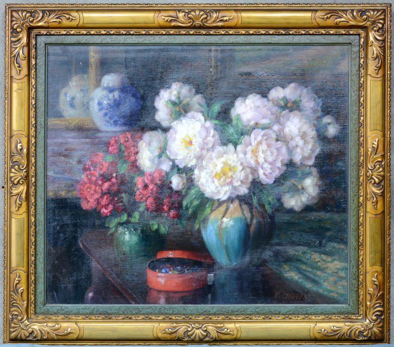 """""""Grote bloementuil in een aardewerken vazen"""". Olieverf op doek. Gesigneerd."""