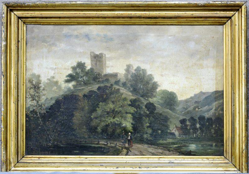 """""""Landschap met kasteelruïne. Een pratende man en vrouw op de voorgrond bij een vijver"""". Olieverf op doek. Gesigneerd en gedateerd 1890. Schade."""