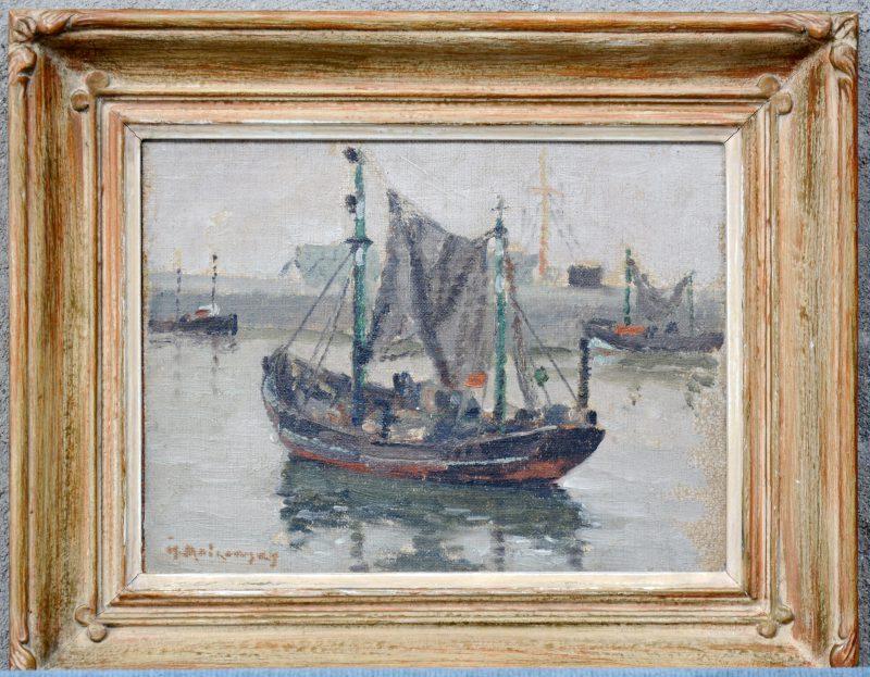 """""""Vissersboten in de haven van Oostende"""". Oieverf op board. Gesigneerd."""