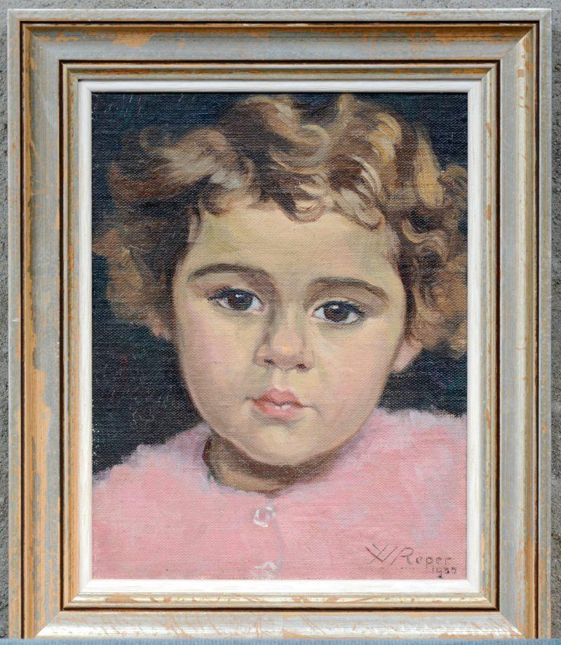 """""""Meisjesportret"""". Olieverf op paneel. Gesigneerd en gedateerd 1935."""
