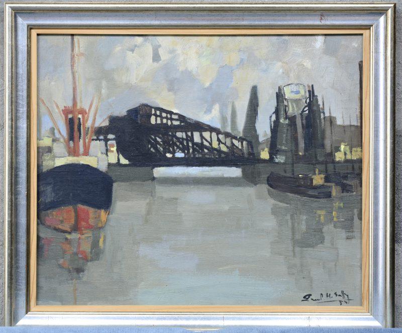 """""""Havenbrug"""". Olieverf op paneel. Gesigneerd en gedateerd '54."""