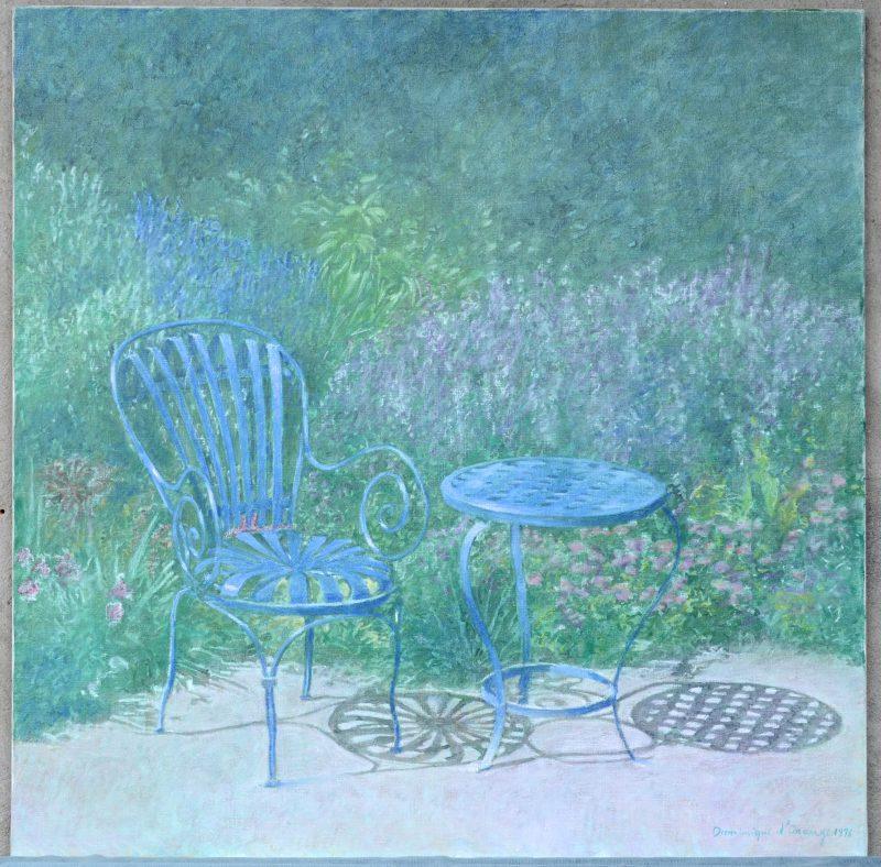 """""""Tuingezicht met tafel en stoeltje"""". Olieverf op doek. Gesigneerd en gedateerd 1996."""