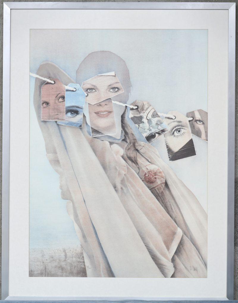 """""""Fotoshoot"""". Een lithografie. Genummerd 38/100 en gesigneerd buiten de plaat."""