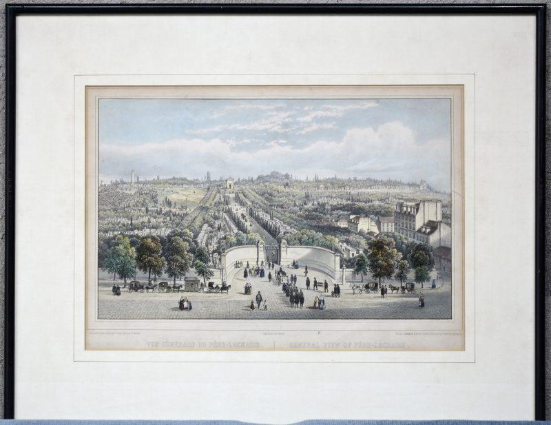 """Vue générale du Pèrre-Lachaise"". Een lithografie naar een werk Fichot."