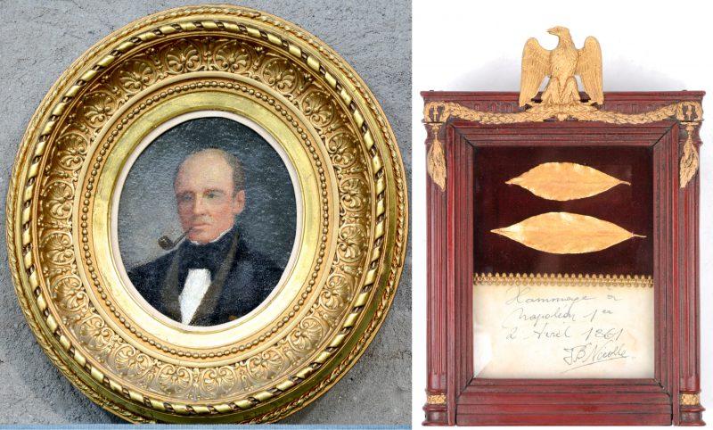 """""""Portret van Jean Baptiste Nicolle te 1858"""". Olieverf op doek. We voegen hierbij toe: """"Hommage à Napoléon 1er"""". Twee vergulde laurierbladeren in empire kadertje. Gesigneerd door Jean Baptiste Nicolle op 2 april 1861. Met waszegel."""