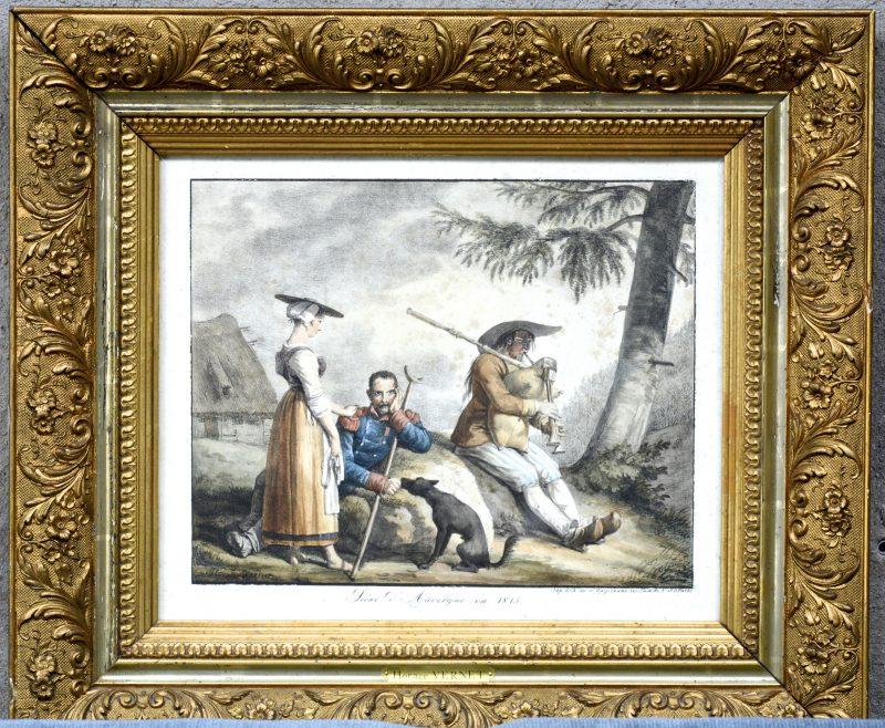 """""""Scène d'Auvergne en 1815"""". Een XIXe eeuwse lithografie naar een werk van Horace Vernet."""