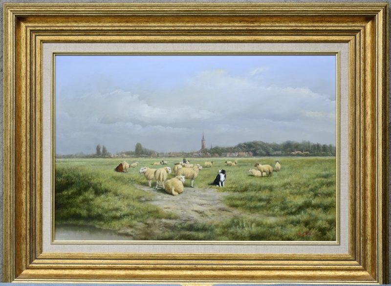 """""""Herder met schaapshond en kudde schapen"""". Olieverf op paneel. Gesigneerd."""