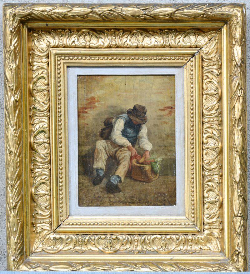 """""""Man met groentenmand"""". Olieverf op paneel. Franse school, XIXe eeuw."""