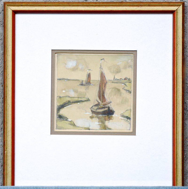"""""""Zeilbootjes op de Schelde"""". Aquarel op papier. Niet gesigneerd."""