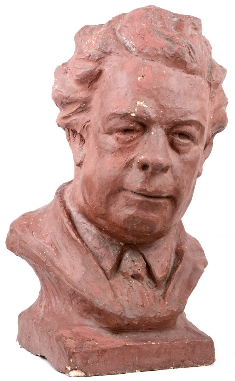 """""""Felix Timmermans"""". Een plaasteren buste. Gesigneerd P. Brauwers."""