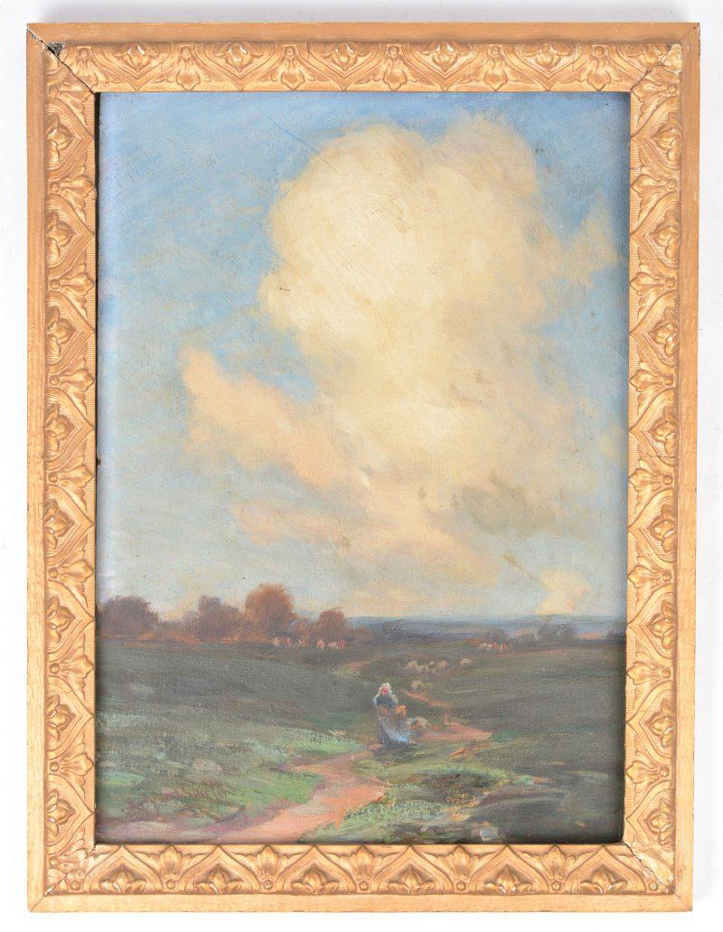 """""""A summer cloud"""". Olieverf op paneel. Gesigneerd."""