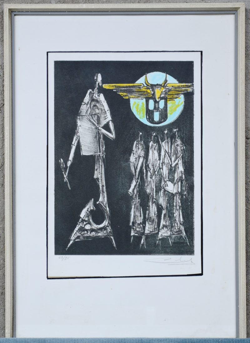"""Surrealistische personages"". Een lithografie. Gesigneerd en genummerd 62/95 buiten de plaat."