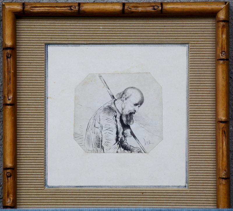 """""""Oude blinde man"""". Een studietekening, pen op papier. Gemonogrameerd."""