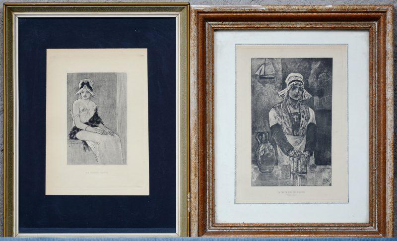 """La cantinière des pilotes"" & ""Ma grand' tante"". Twee lithografieën naar werken van Félicien Rops."