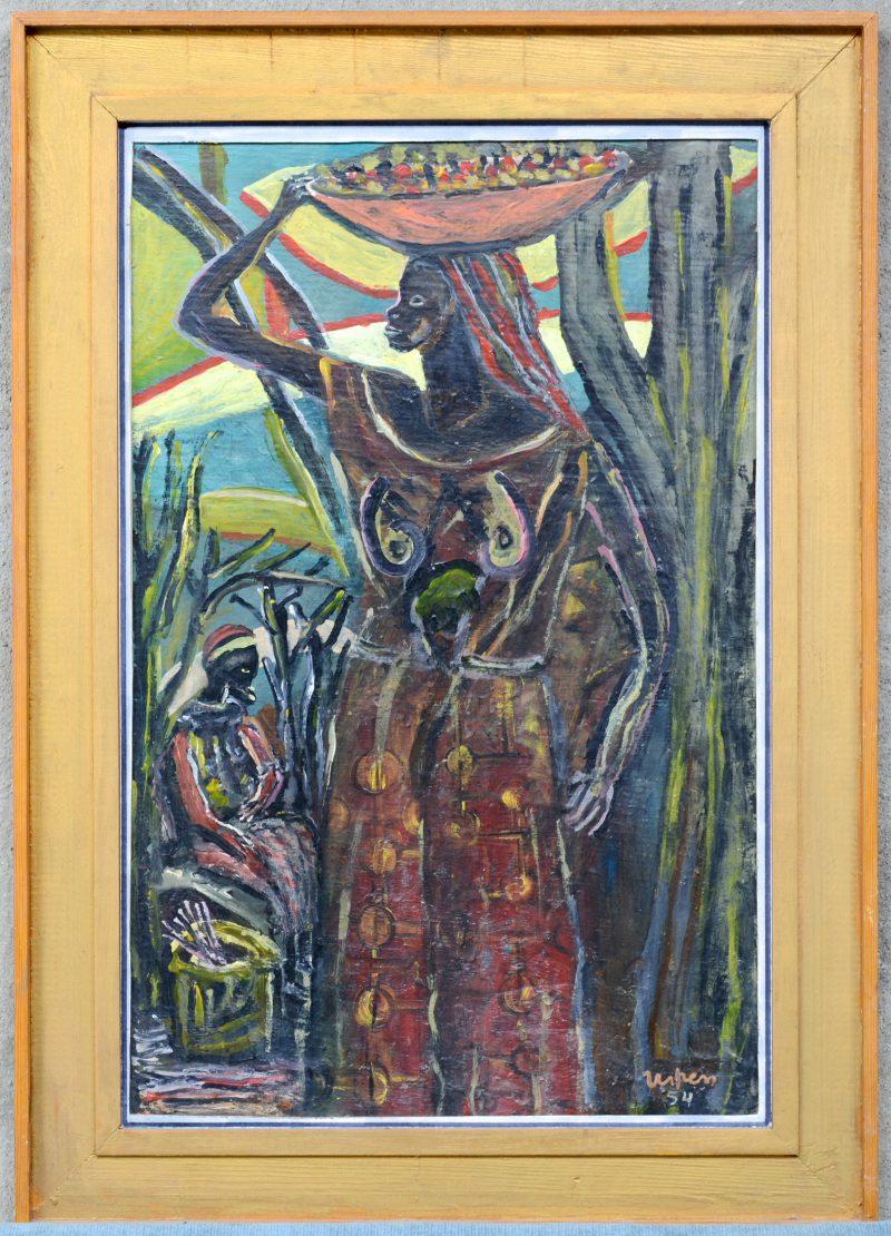 """Afrikaanse vrouw"". Olieverf op paneel. Gesigneerd en gedateerd 1954."