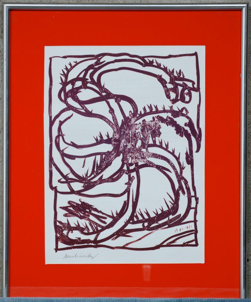 """""""Abstract"""". Een lithografie. Gesigneerd buiten de plaat."""