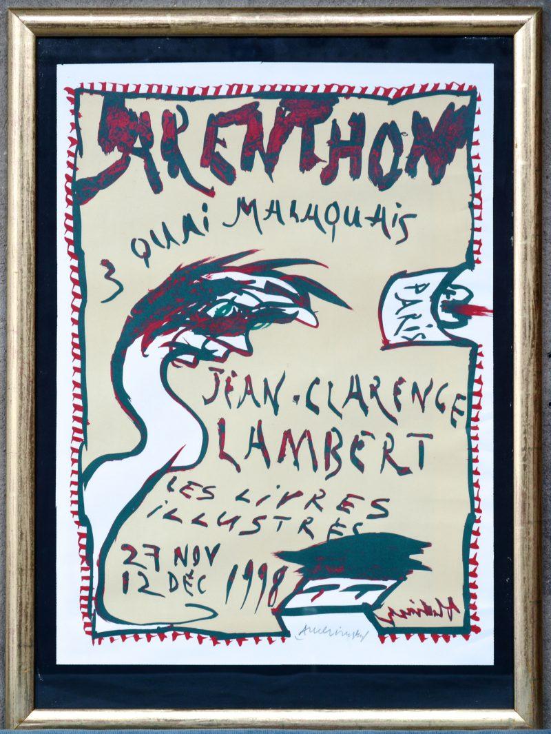 """""""Jean-Clarence Lambert, les livres illustrés"""". Een lithografie. Gesigneerd buiten de plaat."""