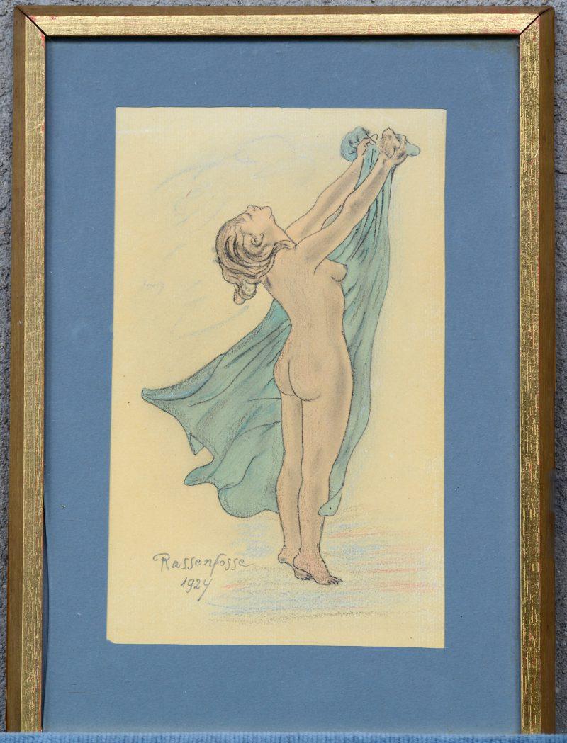 """""""Vrouwelijk naakt"""". Kleurpotlood op papier. Draagt handtekening 'Rassenfosse 1924'."""