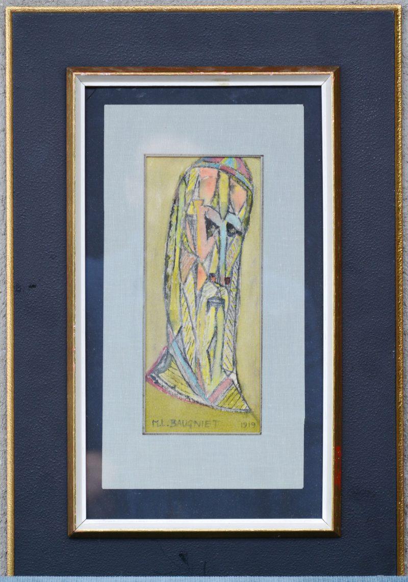 """""""Abstract mannengezicht"""". Gemengde techniek op linnen. Gesigneerd en gedateerd 1919."""