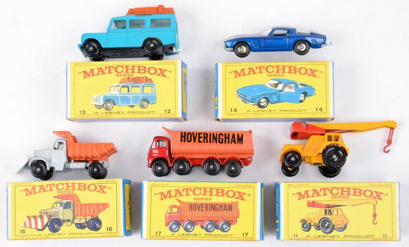"""Vijf speelgoedautootjes in originele doosjes:- Jumbo crane.- Safari Land Rover.- Iso Grifo.- Scammell """"Mountaineer Snowplough"""".- 8-wheel tipper."""