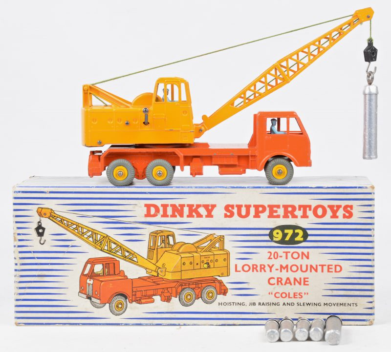 """""""20-ton Lorry-mounted crane 'Coles'"""". Een speelgoedvoertuig. Goede staat. In originele doos."""