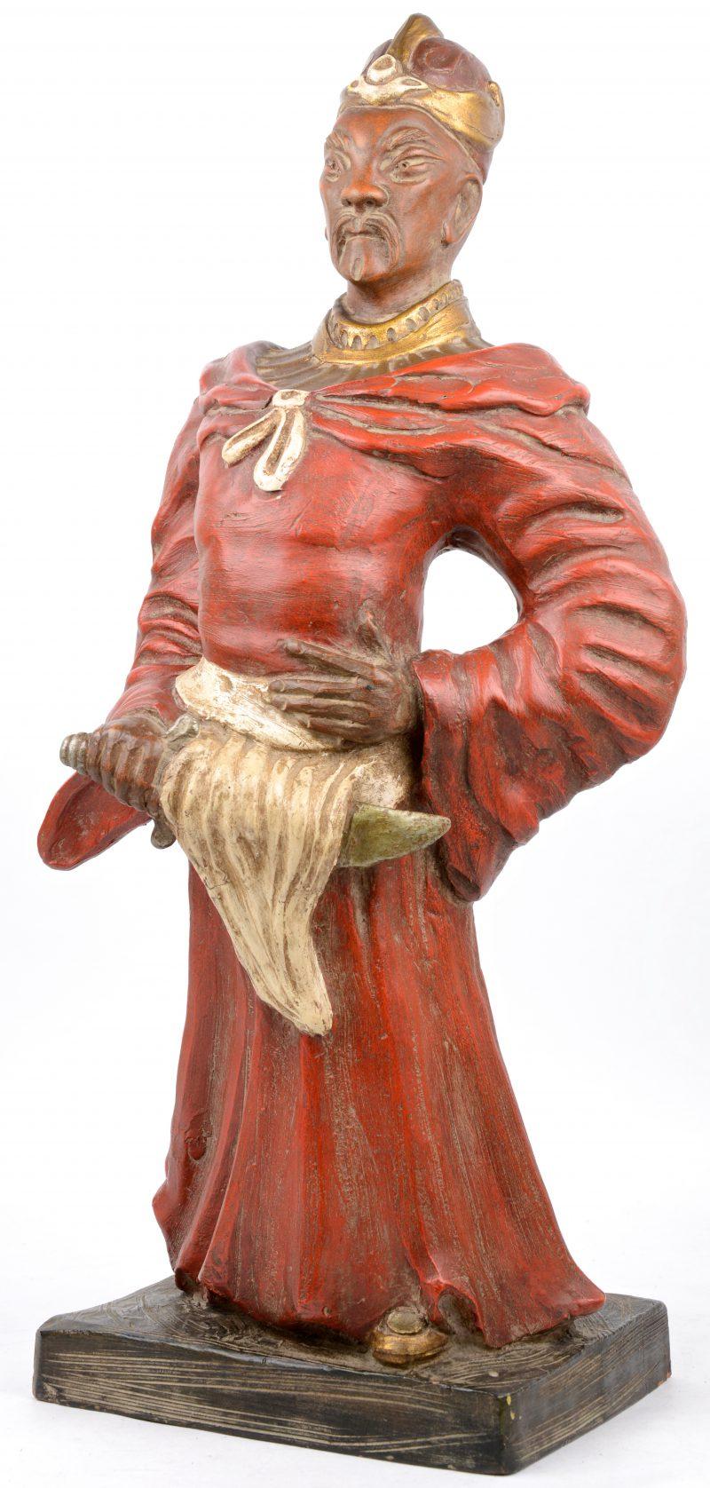 Terracotta beeld van een Chinese edelman. Italiaans werk, gemerkt.