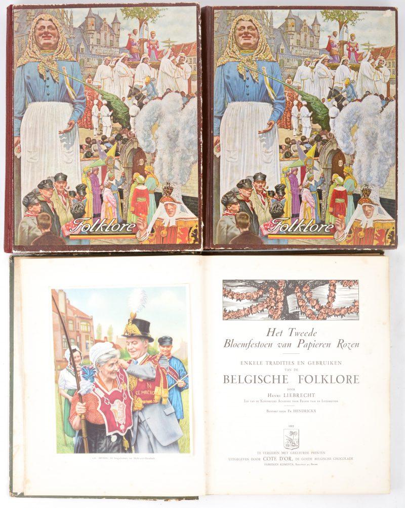 Drie Liebig-Chromoalbums: Folklore I & II nederlandstalig en Folklore I Franstalig. Compleet.