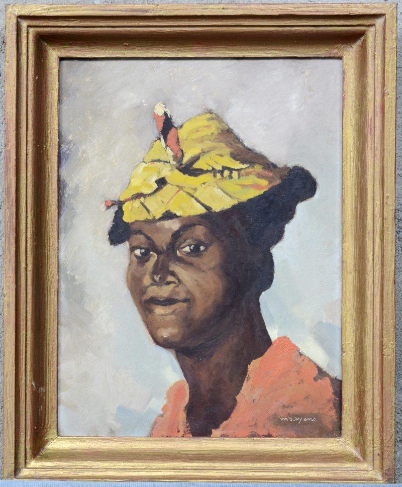 """""""Afrikaans vrouwenportret."""" Olieverf op paneel. Gesigneerd."""