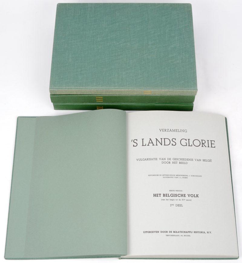 """""""s'Lands Glorie I, II, III & IV. Vier chromo-albums, uitgegeven bij Historia. Compleet en in zeer goede staat."""