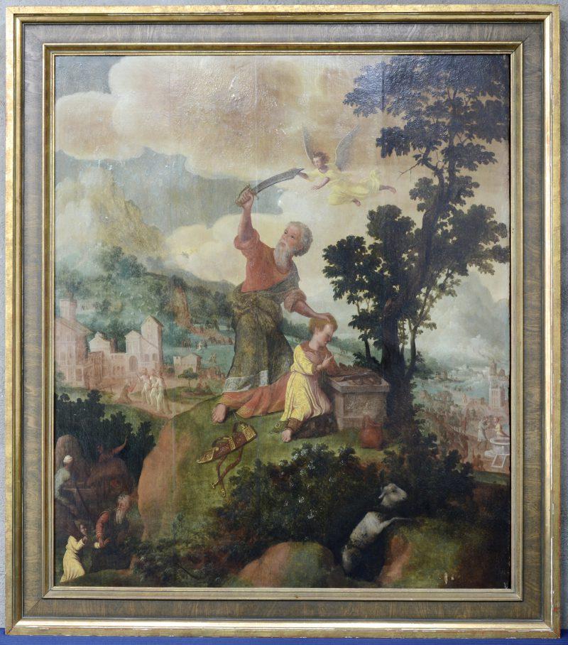 """""""Abraham offert Isaak, maar wordt door de engel tegengehouden. In een italianiserend landschap met talrijke personnages en gebouwen"""". Olieverf op paneel, opnieuw geparketteerd. Vlaamse School, XVIIde eeuw."""