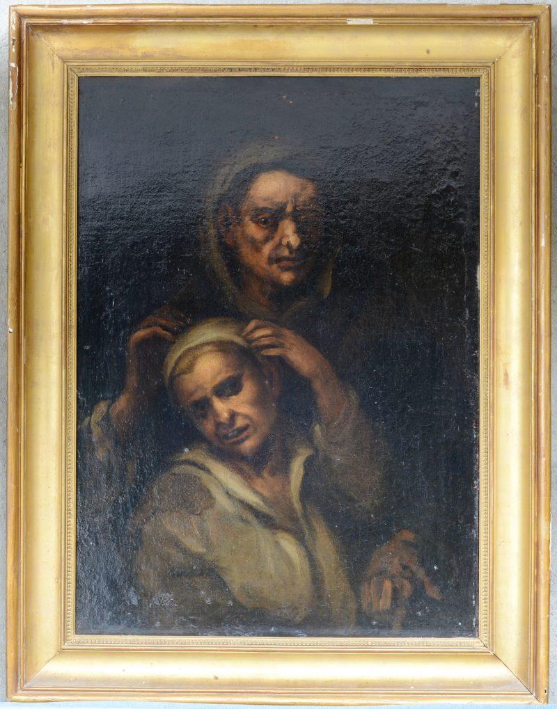 """""""De genezer"""". Olieverf op doek. Herdoekt. Italiaanse School, XVIIde eeuw."""