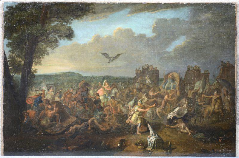 """""""De Slag bij Issos. Gevecht tussen de legers van Darius III en van Alexander de Grote"""". Olieverf op doek. Herdoekt. Antwerpse School, XVIIde eeuw. Gesigneerd links onderaan."""