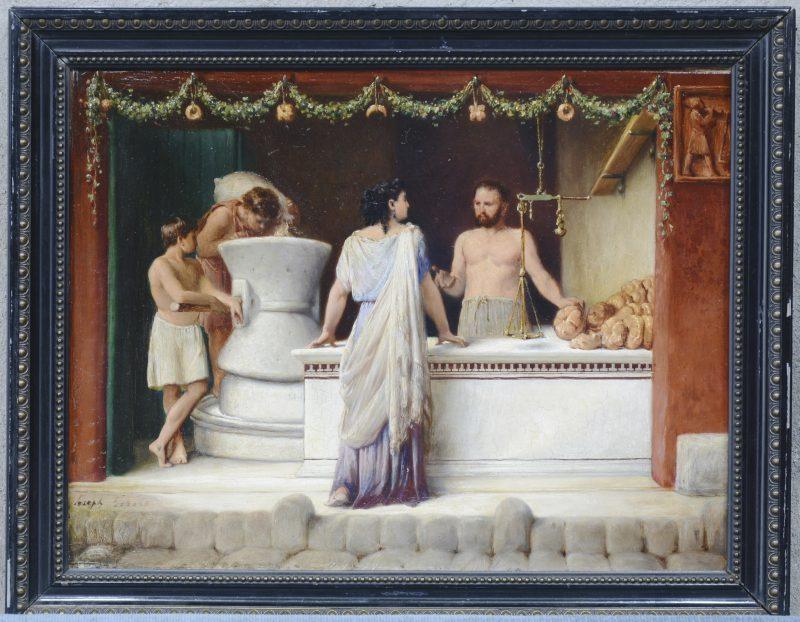 """""""Bij de Griekse bakker. Een classicistische scène"""". Olieverf op paneel. Gesigneerd."""