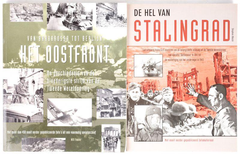 """Twee boeken met betrekking tot de Tweede Wereldoorlog:- """"Het Oostfront"""". Will Fowler. Ed. Amber books. London, 2001.- """"De hel van Stalingrad"""". Stephen Walsh. Ed Amber books. London, 2000."""