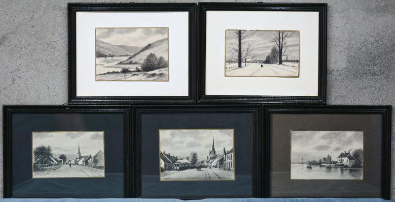 Een reeks van vijf landschappen, inkt op papier. Gesigneerd. Omstreeks 1900.