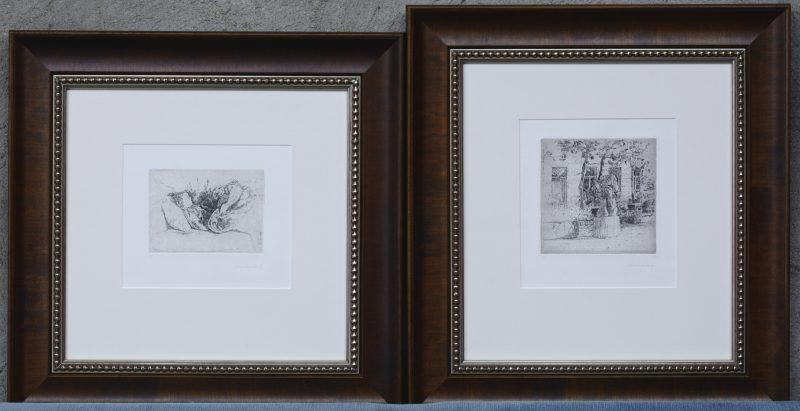 """""""Kunstwerk in de Provence"""" & """"Kind in bed"""". Twee etsen. Beide gesigneerd binnen en buiten de plaat. Epreuve d'artiste.?"""