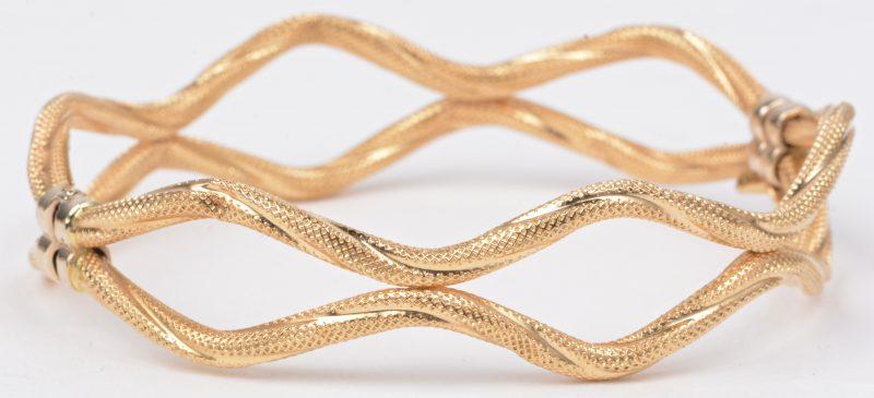 Een 18 karaats geel gouden geweven armband.