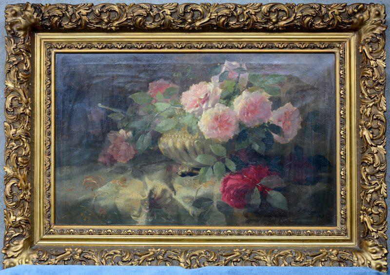 """""""Stilleven met roze en rode rozen"""". Olieverf op doek. Gesigneerd."""