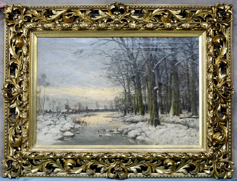 """""""Winterlandschap"""". Olieverf op doek. Gesigneerd en gedateerd."""