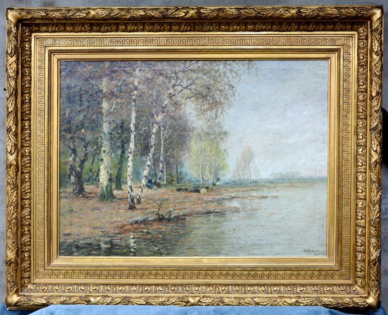 """""""Waterlandschap"""". Olieverf op doek. Gesigneerd en gedateerd 1894."""