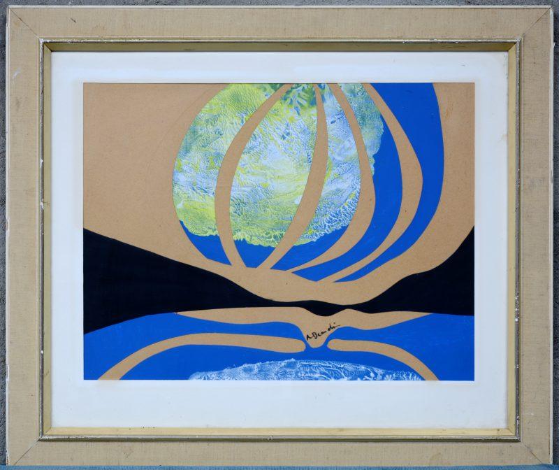 """""""Collage"""". Gemengde techniek. Draagt een handtekening: Boudin."""