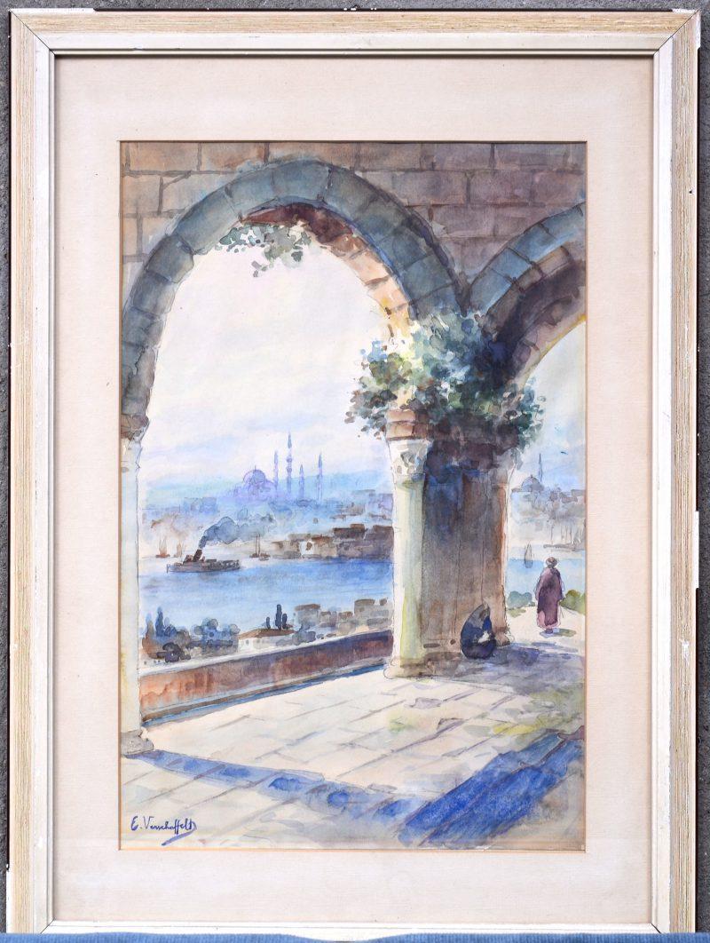 """""""Constantinopel"""". Aquarel. Draagt een handtekening: Verschaffelt."""