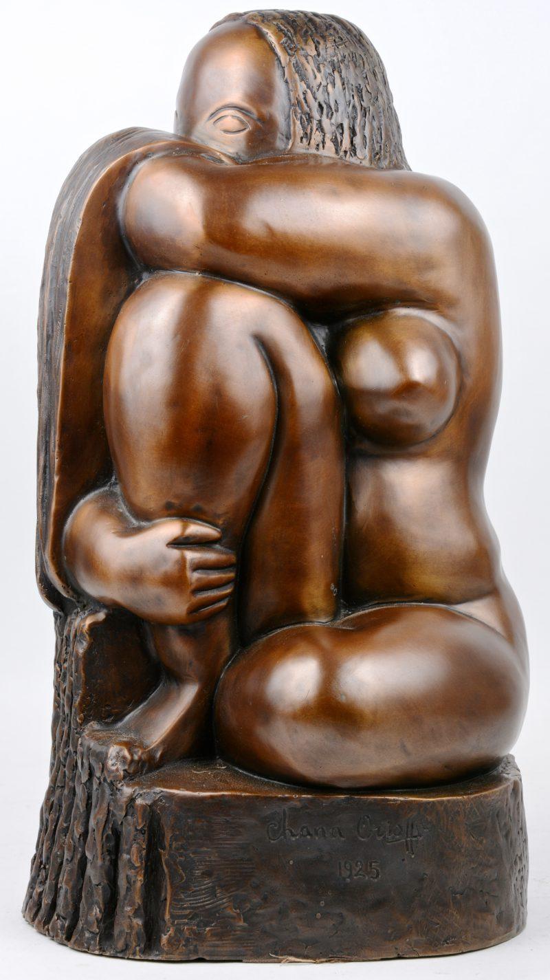 """""""Vrouwelijk naakt"""". Een modern bronzen beeld. Gesigneerd 'Chana Orloff 1925'."""